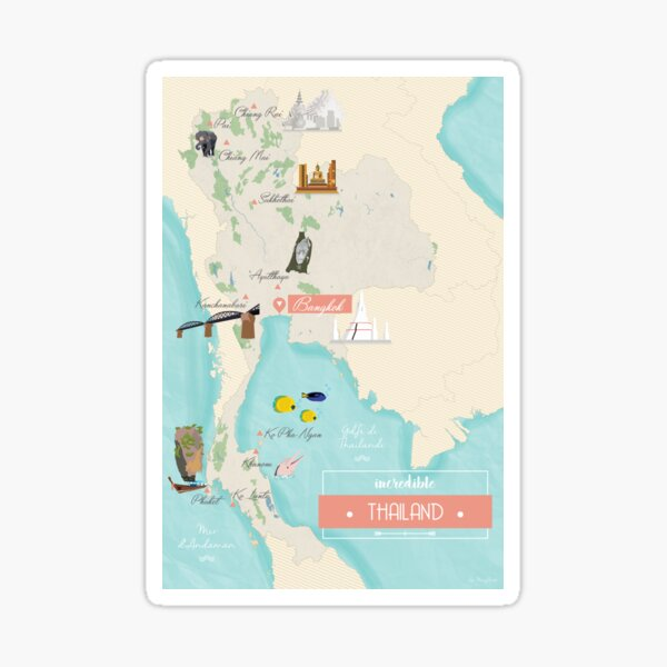 Carte Thailande Sticker