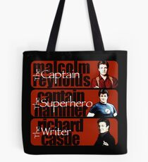 The Captain, The Superhero, and The Writer Tote Bag