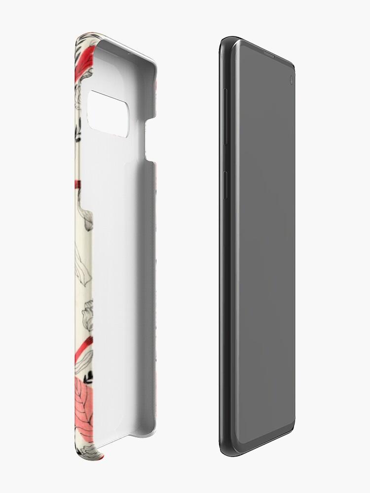 Alternate view of Red flower pattern_ Case & Skin for Samsung Galaxy