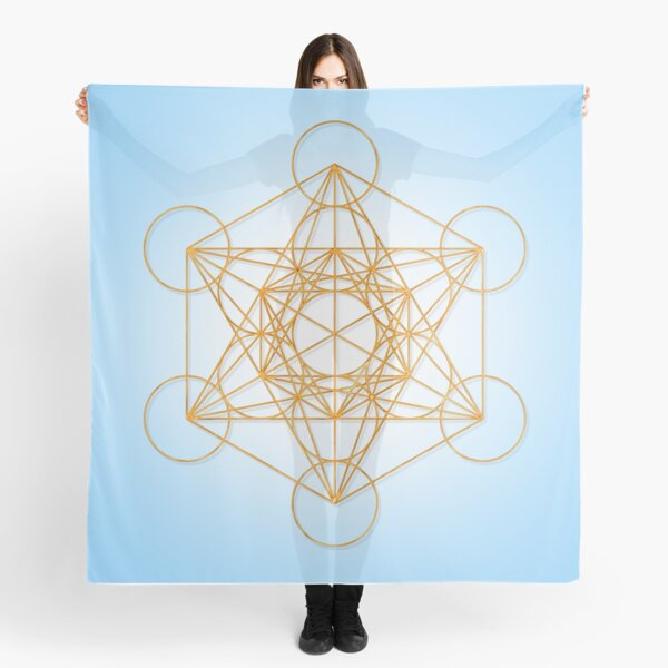 Metatron Cube Sacred Geometry in the Sky Scarf