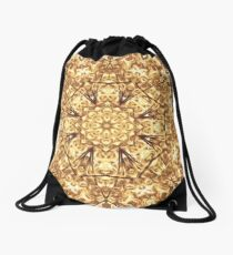Gold Rush Mandala - Golden Ornate Art Deco Design Drawstring Bag