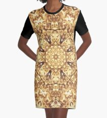 Gold Rush Mandala - Golden Ornate Art Deco Design Graphic T-Shirt Dress