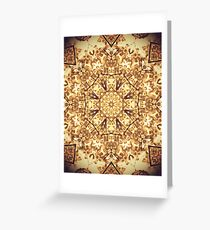 Gold Rush Mandala - Golden Ornate Art Deco Design Greeting Card