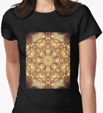 Gold Rush Mandala - Golden Ornate Art Deco Design Women's Fitted T-Shirt
