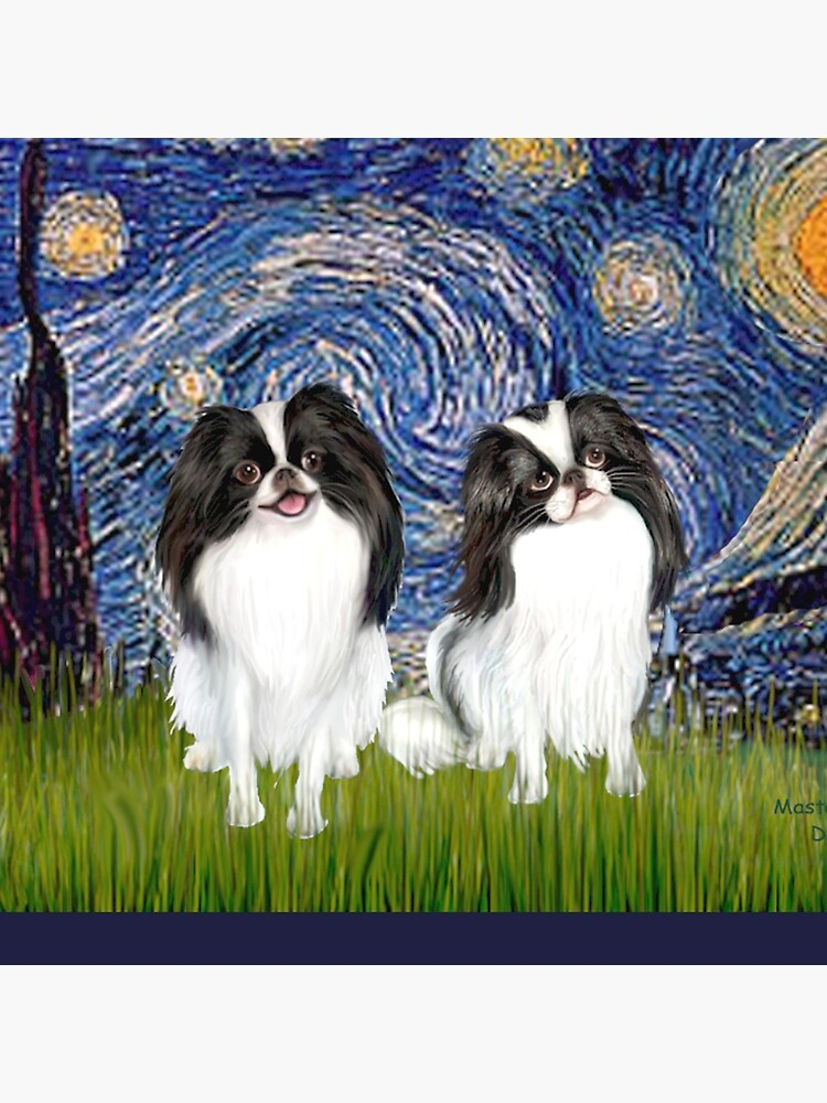 Japanese Chins (two) in Starry Night by JeanBFitzgerald