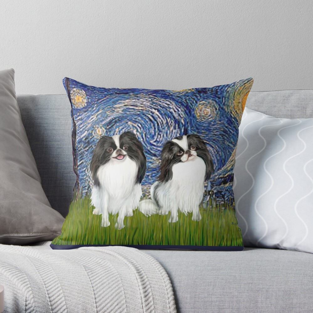 Japanese Chins (two) in Starry Night Throw Pillow