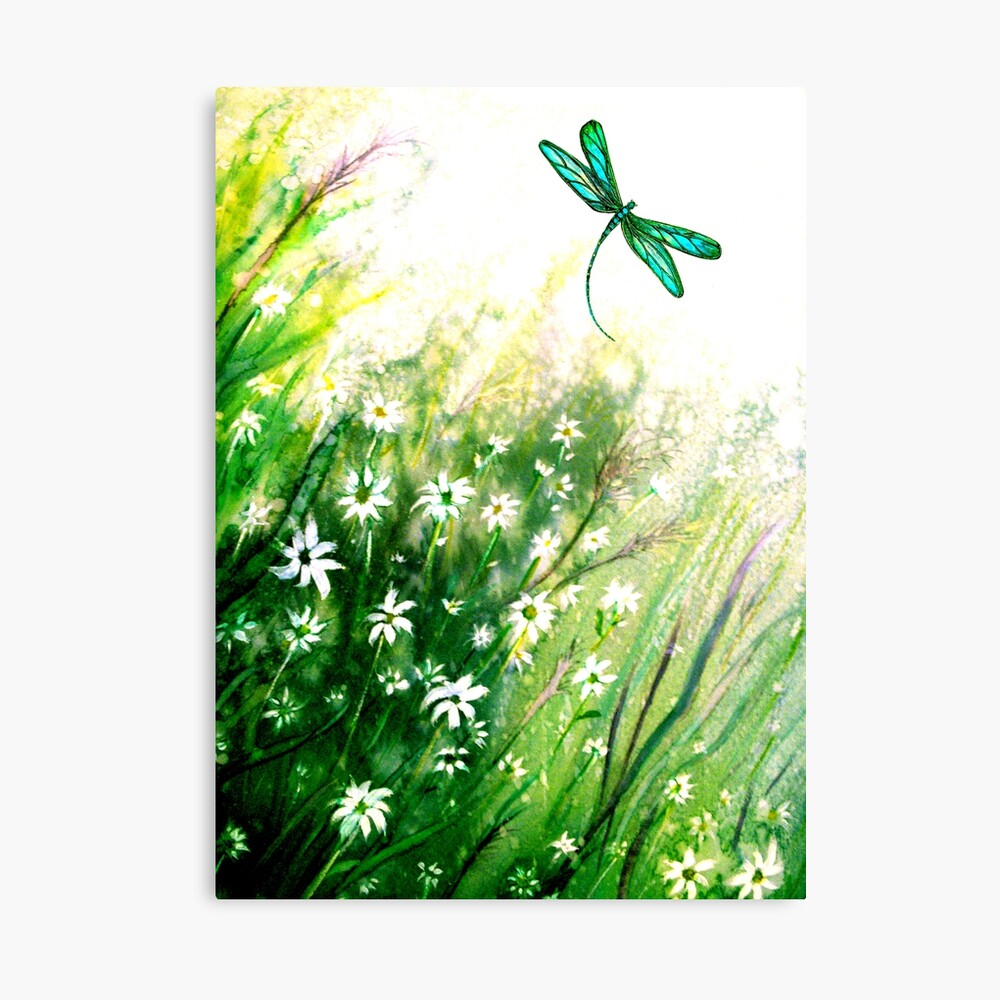 Daisies and Dragonfly Canvas Print