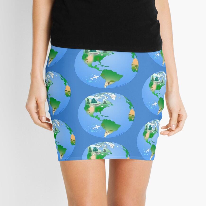 Daytime Planet Earth Mini Skirt