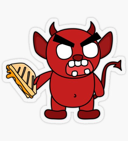 angry zombie devil has a sammich Transparent Sticker