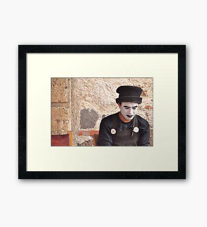 Pensive Mime Framed Print