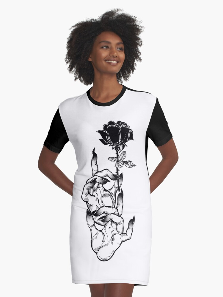 T SHIRT  DRESS  SCOOP NECK LONG SLEEVE gothic rose