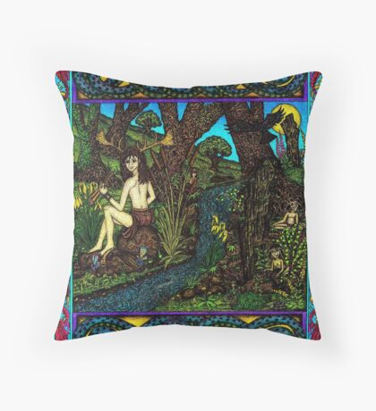 Hern and the Water Spirits, (coloured) Throw Pillow