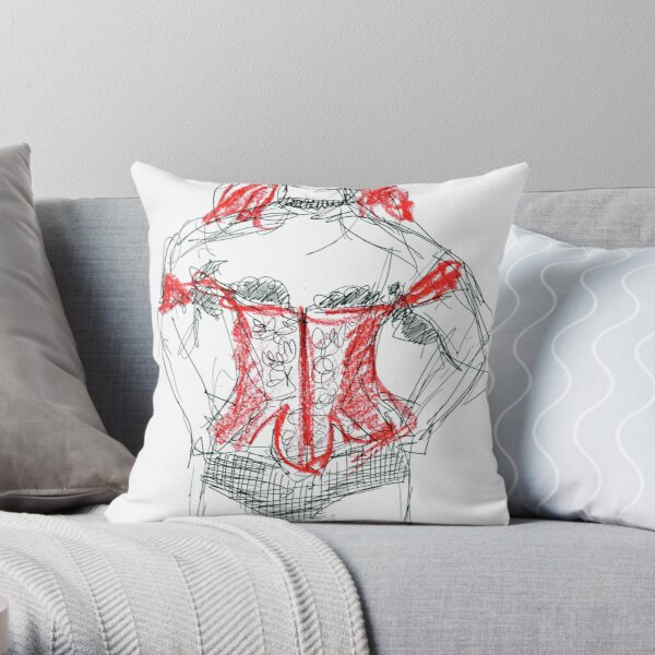 Goth with tattoo Throw Pillow