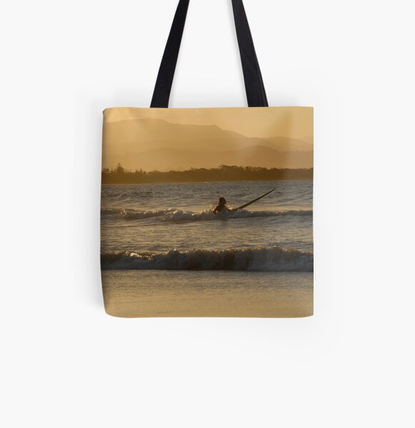 Surfer at Byron Bay All Over Print Tote Bag