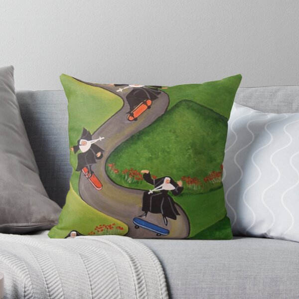 Skateboarding Nuns Throw Pillow