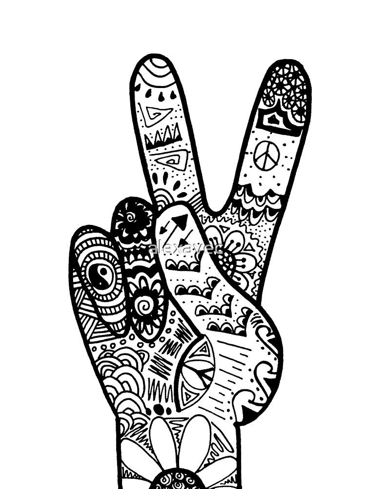 u0026quot peace sign zentangle u0026quot  by alexavec