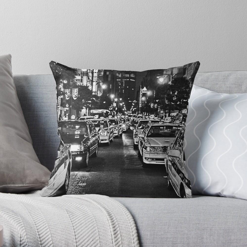 Tokyo Taxis Throw Pillow