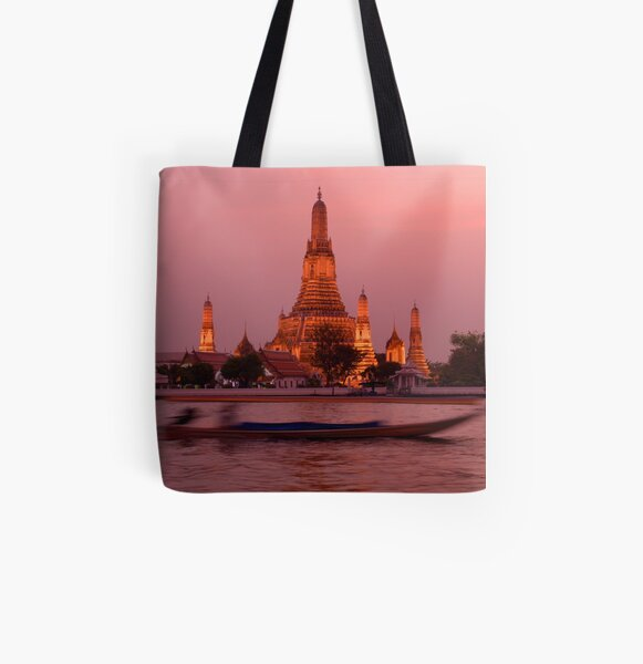 Sunset Temple And Boat All Over Print Tote Bag