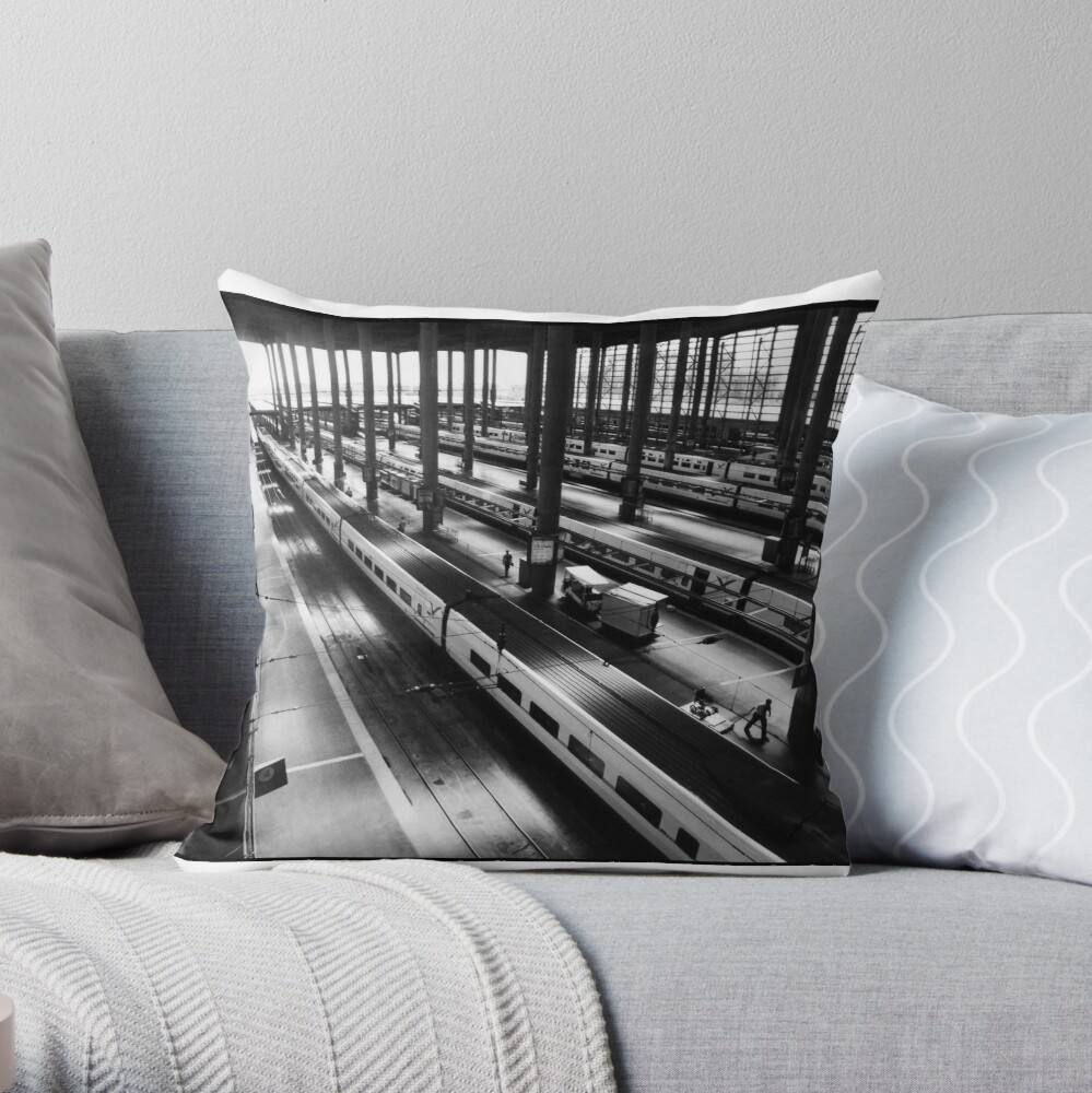 Atoche Train Station Madrid A to B Throw Pillow