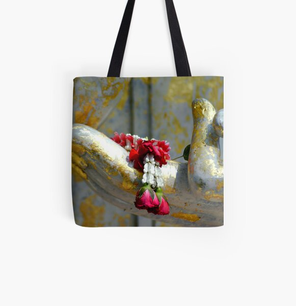 Hand And Garland All Over Print Tote Bag