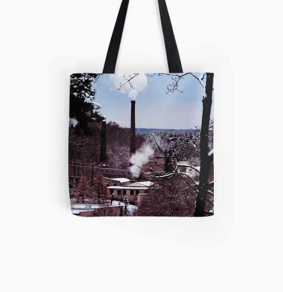 factory country winter card lake house  tree All Over Print Tote Bag