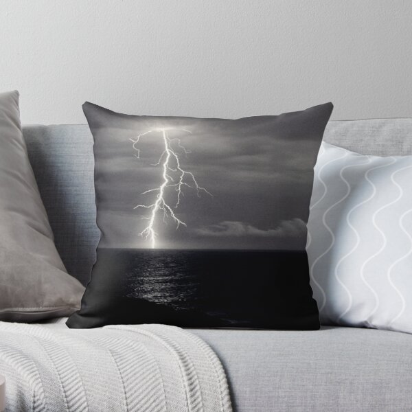Dusk lightning over sea Throw Pillow