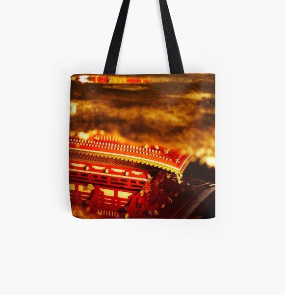 Asakusa temple reflection All Over Print Tote Bag