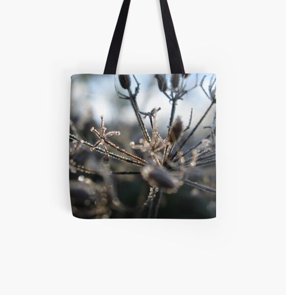 Frosty Stems All Over Print Tote Bag