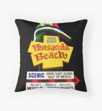 Pensacola Beach Sign Throw Pillow