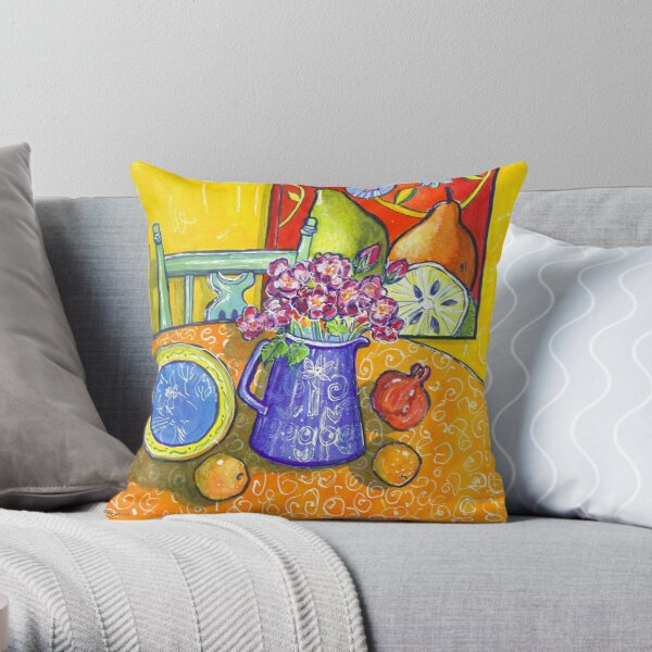yellow interior, pink roses and a pomegranate Throw Pillow