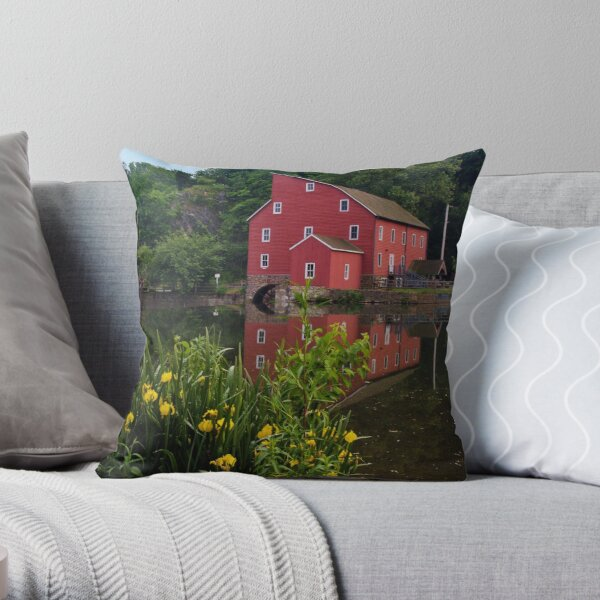 Flowers At The Mill Throw Pillow