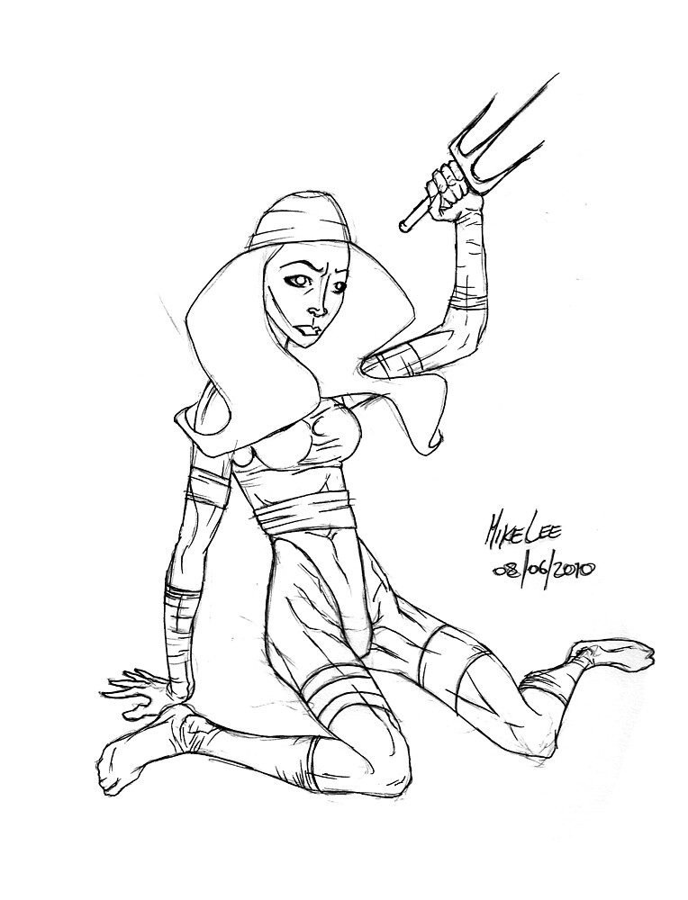 Elektra - Rough Inks by Michael Lee
