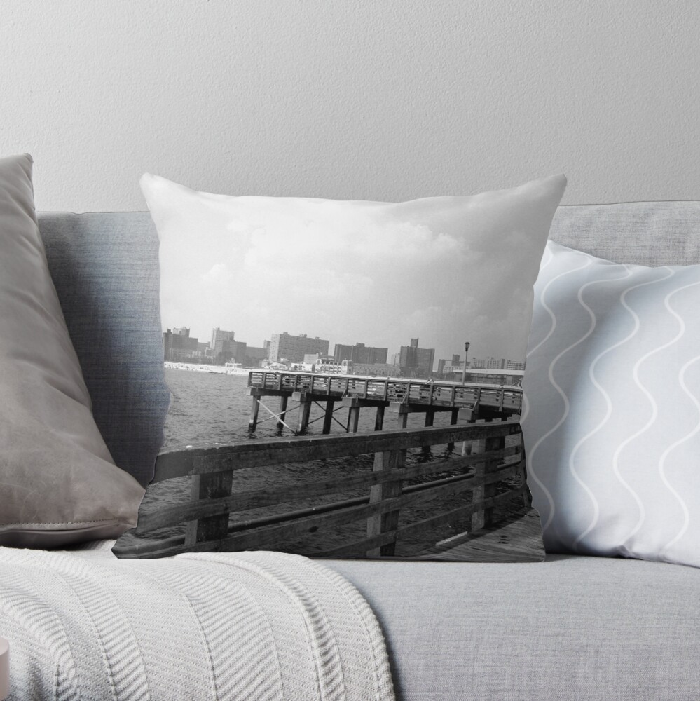 On the dock at Coney Island Throw Pillow