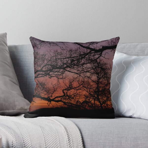 Sunset Branches Throw Pillow