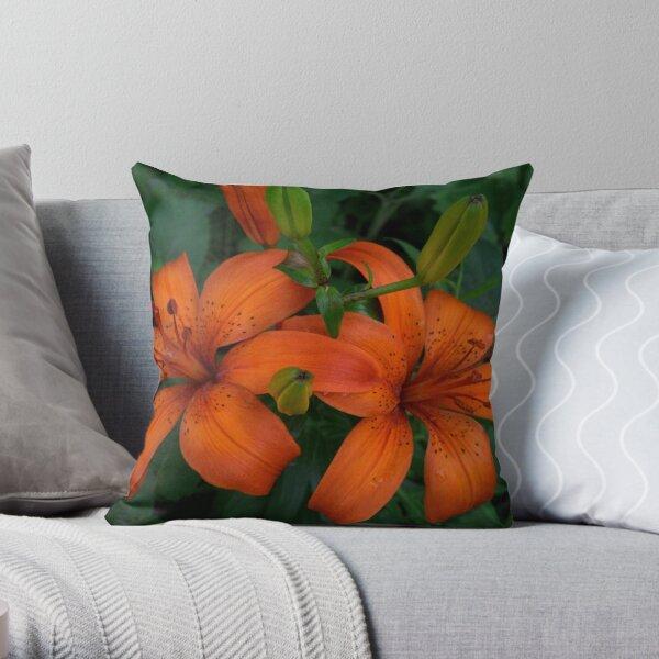Orange Lillium Throw Pillow