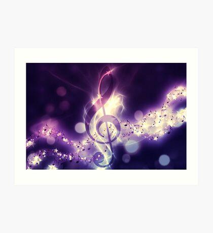 Glühender Musikhintergrund Kunstdruck