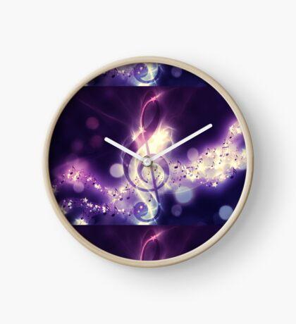 Glühender Musikhintergrund Uhr