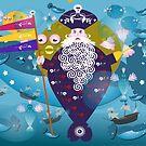 Pirate and whale by Wilfried van Dokkumburg