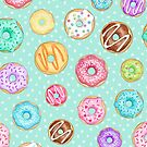 Copy of Scattered Rainbow Donut on spotty mint - repeat pattern by Hazel Fisher