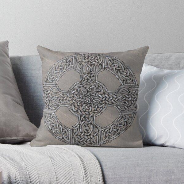 Grey Wheeled Cross Throw Pillow