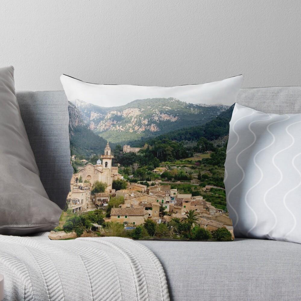 Spanish town of Valdemossa in Mallorca Throw Pillow