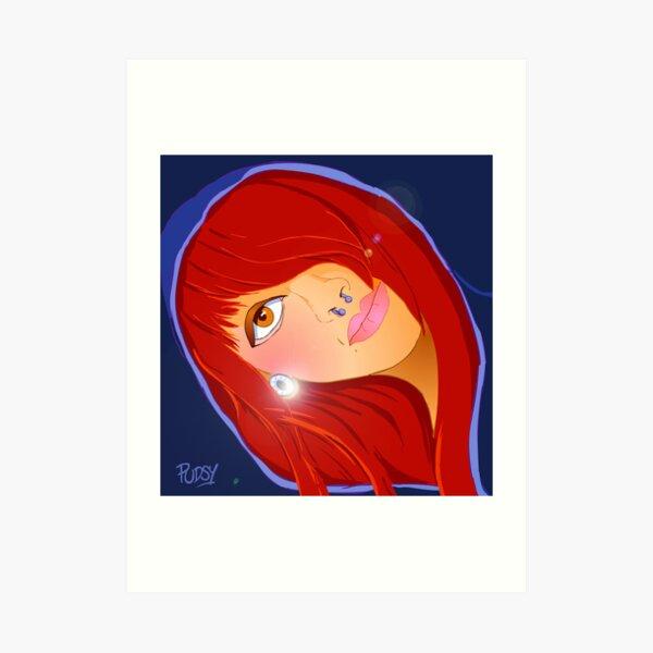 Redhead hoody Art Print