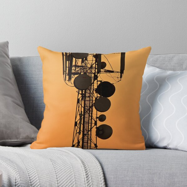 Mobile Tower Silhouette Throw Pillow