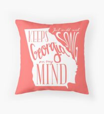 Georgia Map Typography Throw Pillow