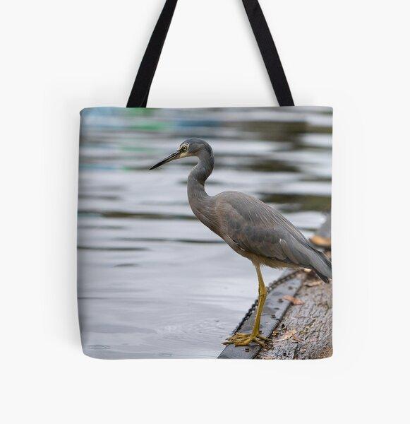 Heron on Torrens. All Over Print Tote Bag