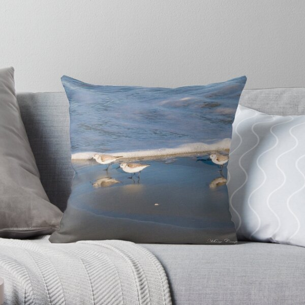 Sandpipers Chasing the Waves ©  Throw Pillow