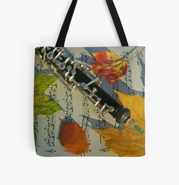 Sunlit Oboe and Sheet Music in Autumn All Over Print Tote Bag