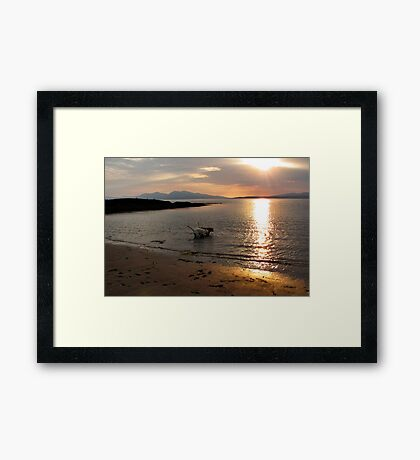 Sunset with dogs Framed Print