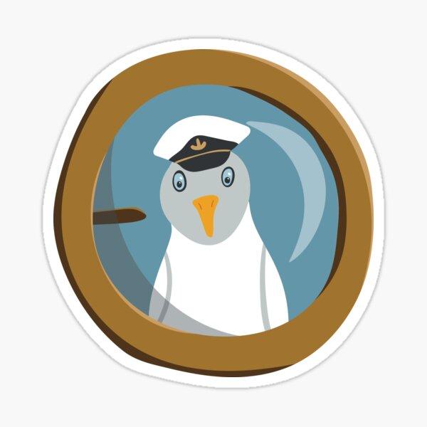 Funny seagull captain behind bull's eye on ship Sticker