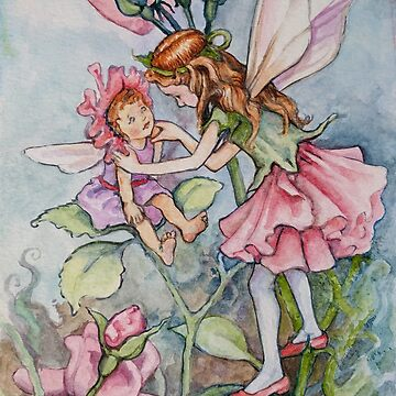 Watercolor: Pink Rose Fairies by joannaalmasude